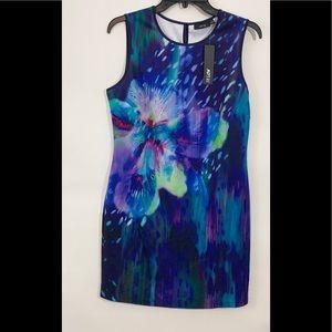 NWT Apt. 9 Blue Floral Bodycon Dress Size Medium